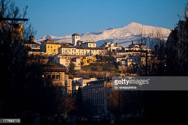 View of Granada and Sierra Nevada in Spain