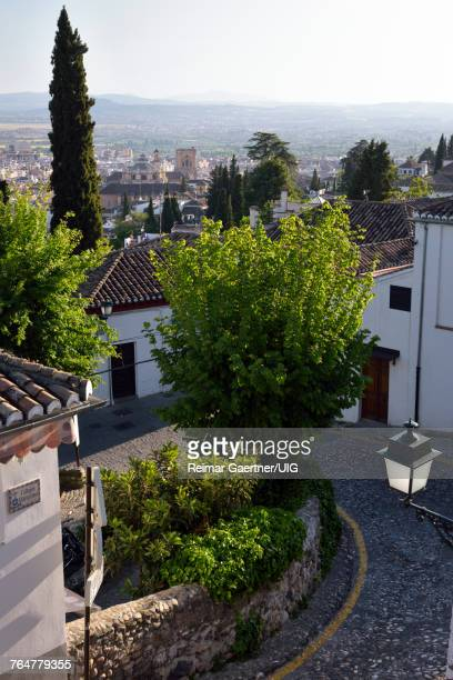 View of Granada Cathedral from Church of Saint Nicholas lookout Andalusia Spain