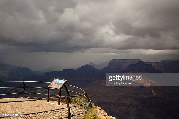 view of grand canyon, south rim with storm clouds - timothy hearsum stock-fotos und bilder