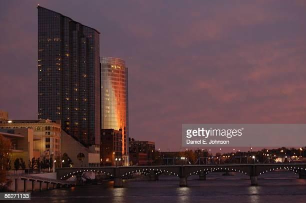 View of Grand river bridge at sunset