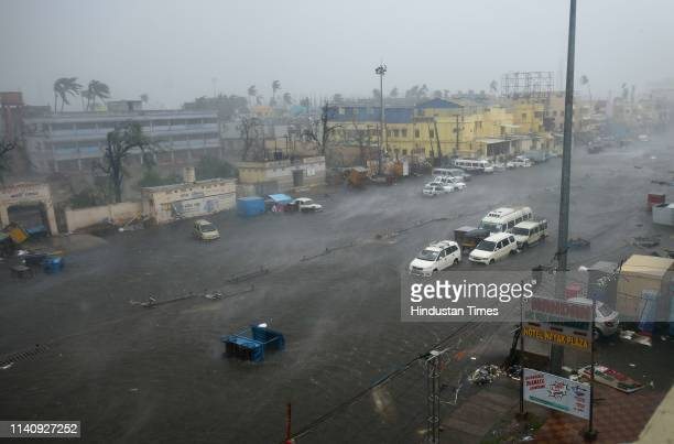 A view of Grand Road after an hour of the onset of cyclone Fani on May 3 2019 in Puri India Cyclone Fani on Friday lashed Odisha triggering heavy...