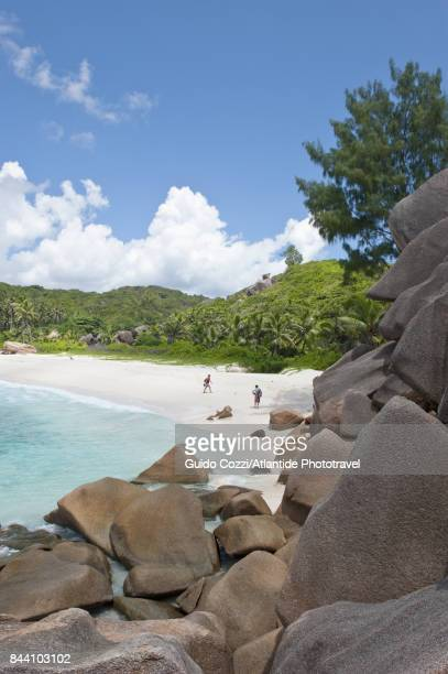 view of grande anse beach - la digue island stock pictures, royalty-free photos & images