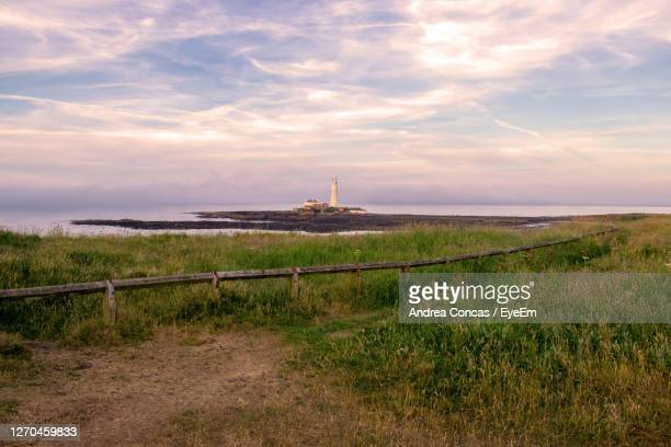 view of grassy field against cloudy sky - whitley bay stock pictures, royalty-free photos & images