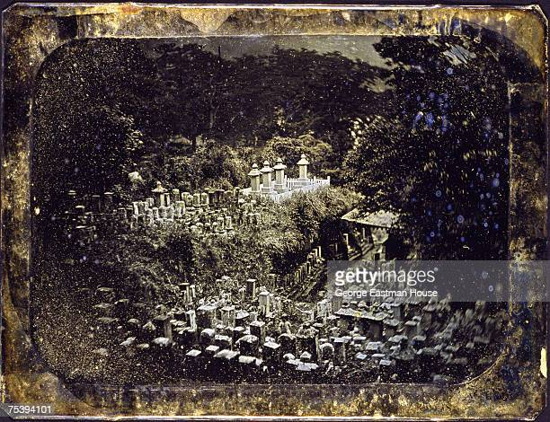 View of grave markers in a cemetary on the grounds of the GyokusenJi Buddhist temple Shimoda Japan 1850s The temple housed as the first American...
