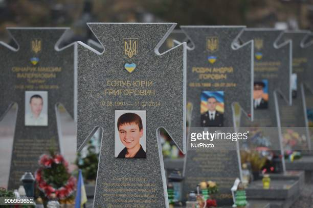 A view of Graves of fallen soldiers of the Ukrainian Army during the War in Donbass area on a Lychakiv cemetery in Lviv On Monday January 15 in Lviv...