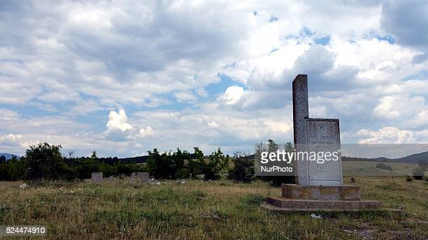 View of graveyard of village of Zapalnya at Zhrebchevo dam near the town of Tvardica, east of the Bulgarian capital Sofia, Sunday, July 2015. The...