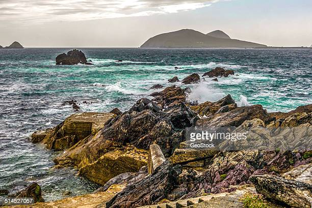 a view of great blasket island - great blasket island stock pictures, royalty-free photos & images