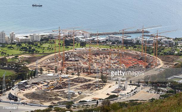 View of Green Point Stadium under constuction which will be used as a venue for the 2010 FIFA World Cup on September 26, 2007 in Cape Town, South...
