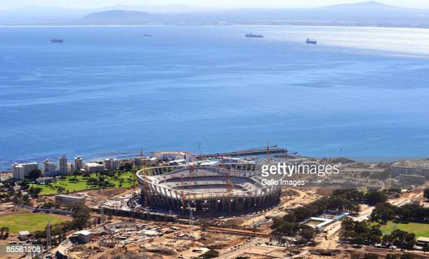 A view of Green Point Stadium which is currently under construction ahead of the 2010 FIFA Soccer World Cup on March 23 2009 in Cape Town South...