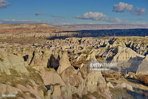 view of göreme on a partly cloudy day - emreturanphoto stock pictures, royalty-free photos & images