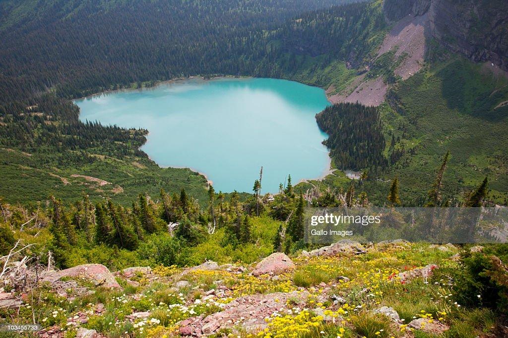 View of Grinnell Lake from Grinnell Glacier trail, Glacier National Park, Montana, USA : Bildbanksbilder