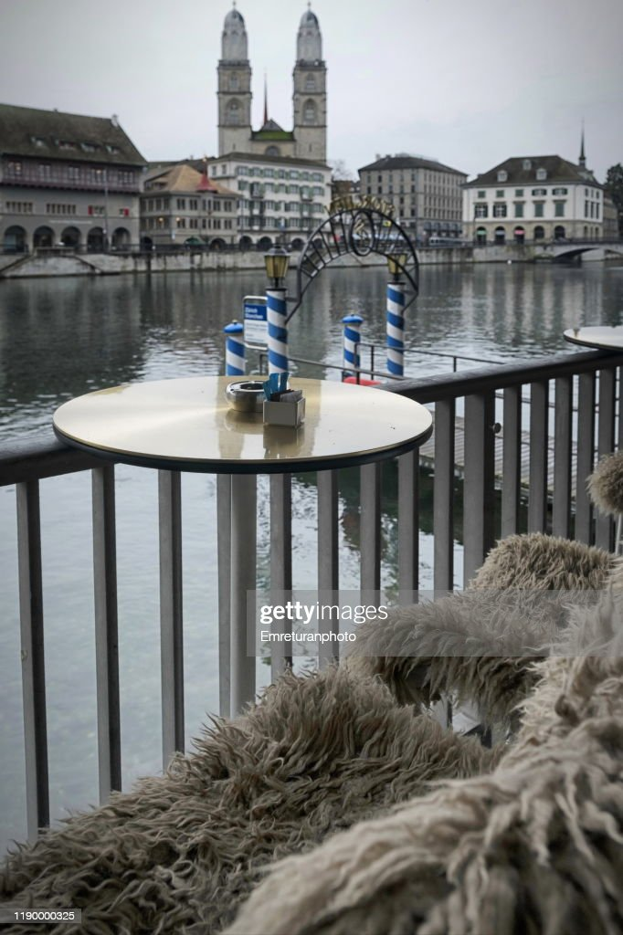 View of Grossmunster church from a waterfront cafe ,Zurich. : Stock Photo