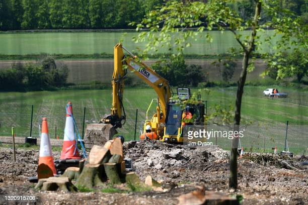 View of ground clearance work following extensive tree felling at Jones Hill Wood on May 27, 2021 in Great Missenden, England. After a prolonged...