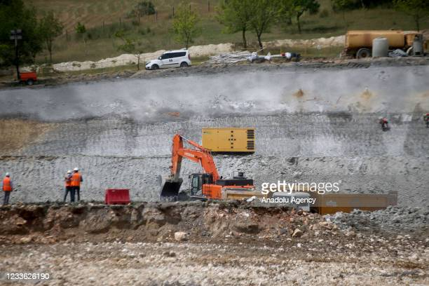 View of groundbreaking area of the first bridge to be built on the Sazlidere Dam on the Istanbul Canal route in Istanbul, Turkey on June 24, 2021....