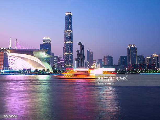 A view of Guangzhou at night by the water