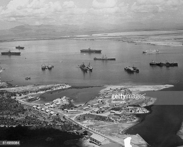 View of Guantanamo Bay, Cuba taken in 1946 as units of the 8th Fleet rode at anchor at the U.S. Naval base.