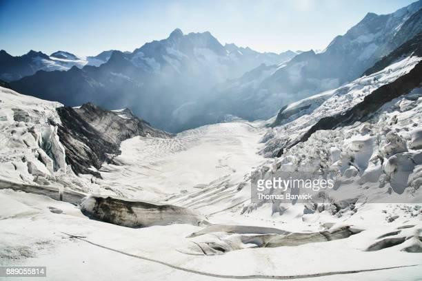 view of guggi glacier (guggiglescher) switzerland - gletscher stock-fotos und bilder