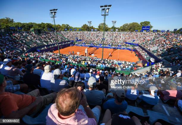View of Guillermo Vilas Court during a semifinal match between Dominic Thiem of Austria and Gael Monfils of France as part of ATP Argentina Open at...
