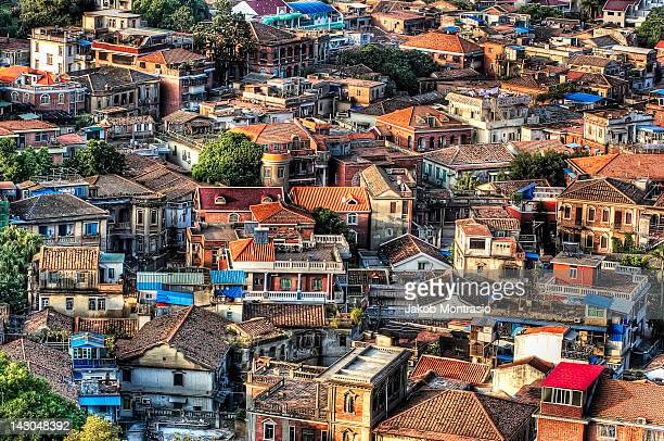 view of gulangyu island houses - xiamen stock photos and pictures