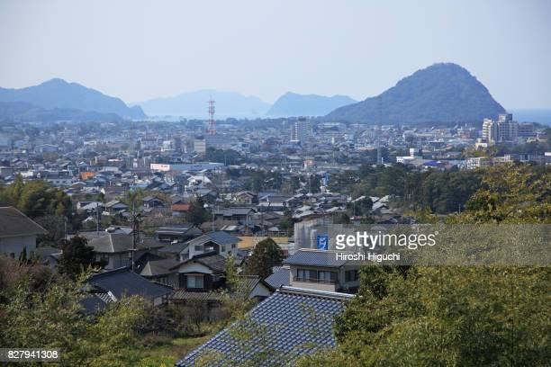 view of hagi city from shoin memorial park, yamaguchi, japan - 山口県 ストックフォトと画像