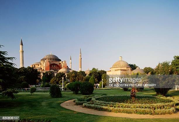 View of Hagia Sophia and its gardens historic centre of Istanbul Turkey 6th century