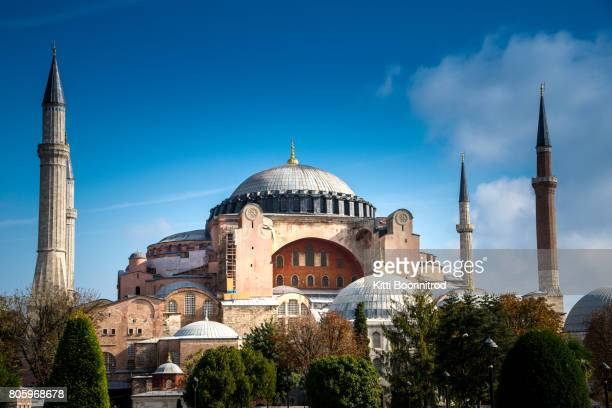 View of Hagia Sophia at midday in Turkey