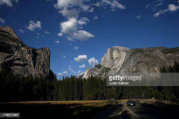 A view of Half Dome and the Yosemite Valley on August 28 2013 in Yosemite Nationall Park California As the Rim Fire continues to burn on the western...