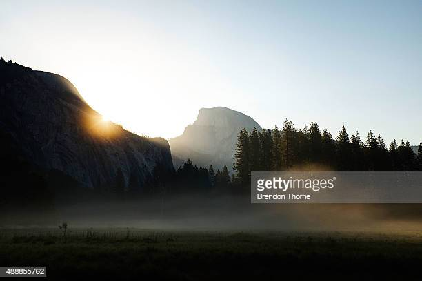 A view of Half Dome at sunrise on May 20 2015 in Yosemite National Park California