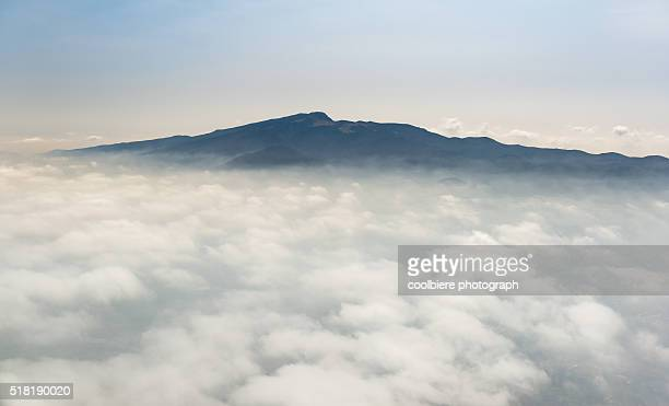 view of hallasan mountain from the sky - hallasan stock photos and pictures