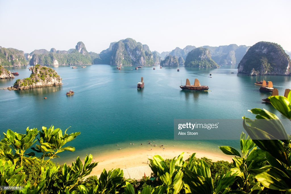 View of Halong Bay top of island : Stock Photo