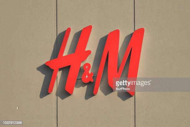 A view of HampM logo in South Edmonton Common a retail power centre located in Edmonton Alberta On Tuesday September 11 in Edmonton Alberta Canada