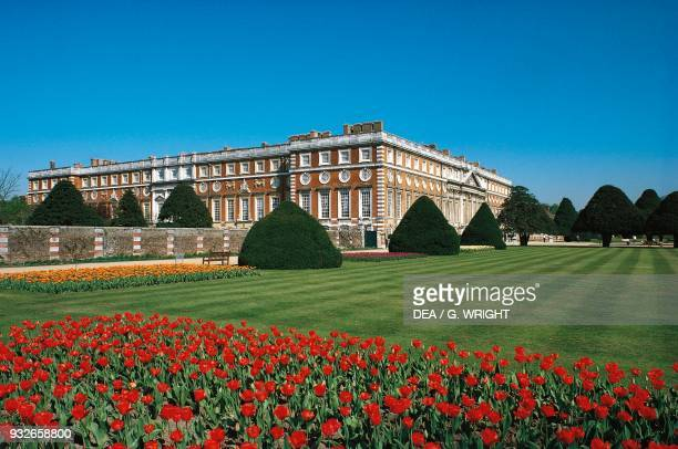 View of Hampton Court, the south facade on the right, Richmond upon Thames, London, England, United Kingdom.