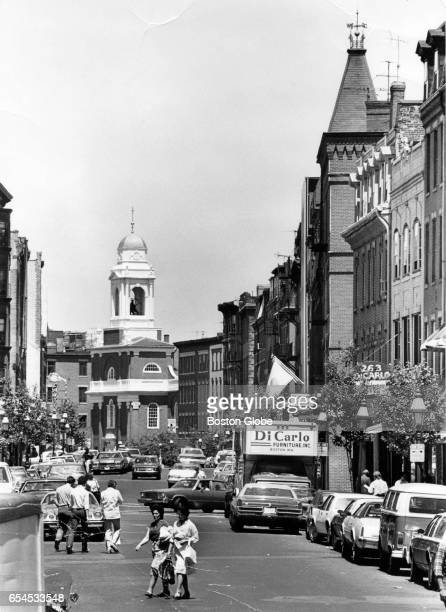 A view of Hanover Street in Boston's North End is pictured circa the 1970s
