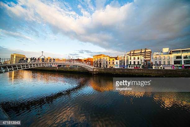 View of Ha'Penny Bridge in Dublin, Ireland
