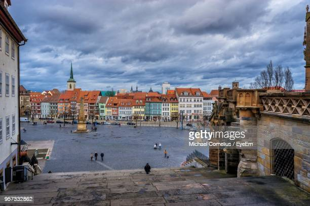 view of harbor in city against sky - erfurt stock pictures, royalty-free photos & images