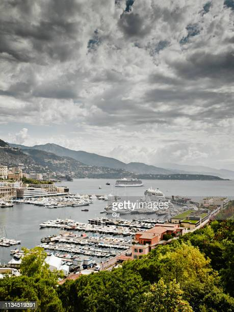 view of harbor, monte carlo, monaco - monte carlo stock pictures, royalty-free photos & images