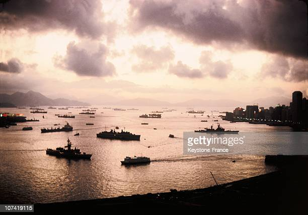 View Of Harbour At Dusk In Hong Kong During The Seventies
