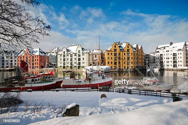 View of harbour in winter