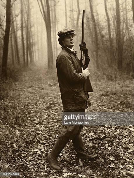 View of Harry Fane while pheasant hunting in a forest in Czechoslovakia 1995