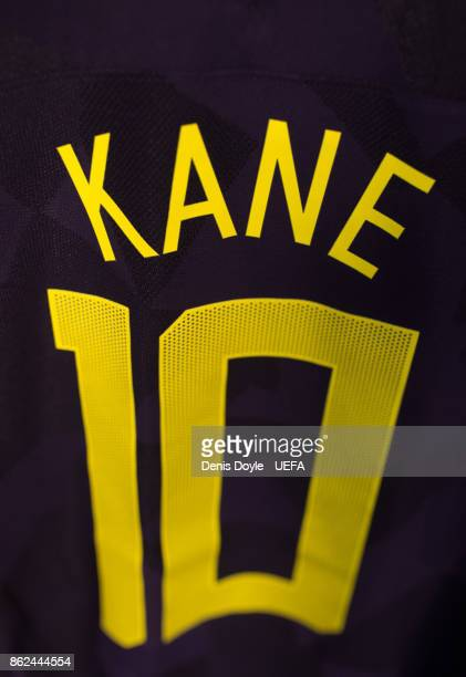 View of Harry Kane's shirt in the Tottenham Hotspur dressing room ahead of the UEFA Champions League group H match between Real Madrid and Tottenham...