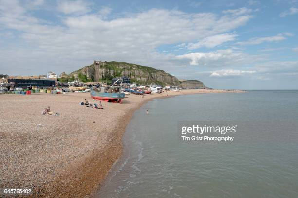 a view of hastings beach, east sussex - hastings stock photos and pictures