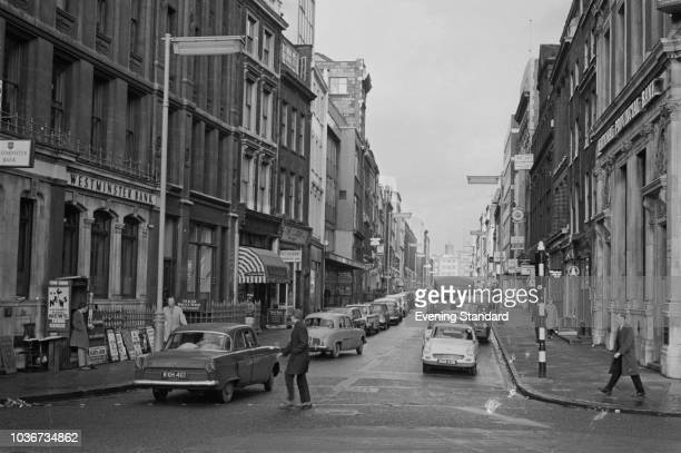 View of Hatton Garden, street and commercial area in the Holborn district of the London Borough of Camden, London, UK, 19th August 1968.