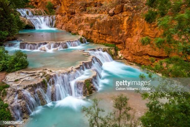 view of havasu falls, arizona, usa - supai stock photos and pictures