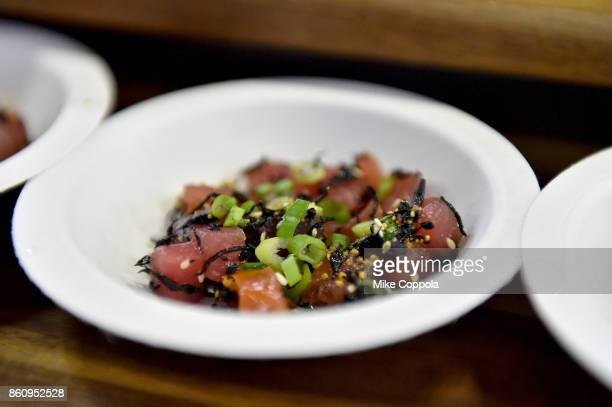 A view of Hawaiian Ahi Tuna Poke prepared by Chef Germán Caceres of Green Fig at Southern Glazer's Wine Spirits of New York Trade Tasting presented...