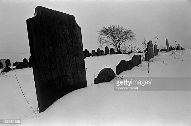 View of headstones at a colonial burial ground, Charlestown, Massachusetts, 1970.
