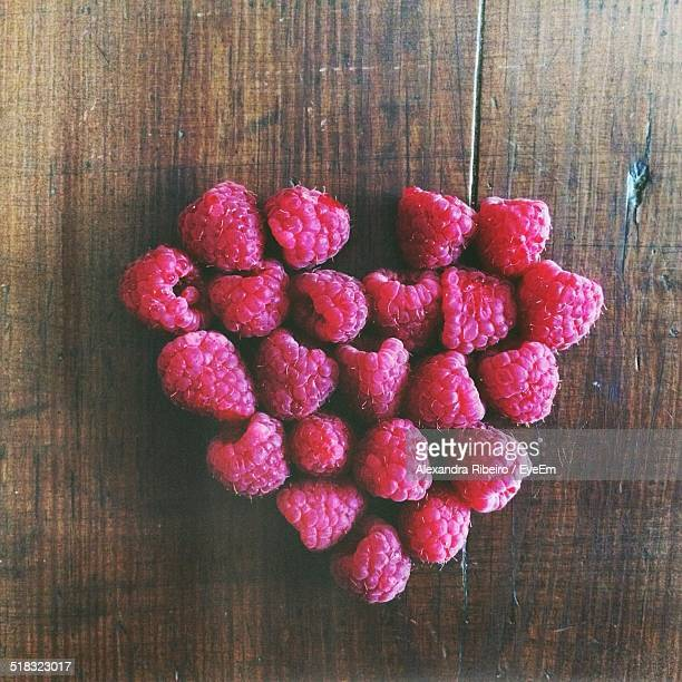 View Of Heart Shape Made Of Raspberries