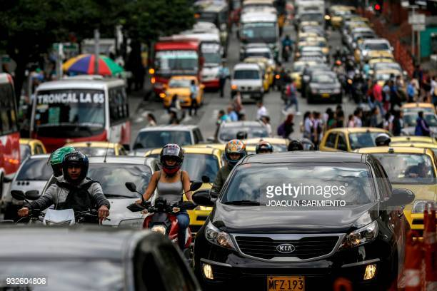 View of heavy traffic at the Oriental Avenue in Medellin Antioquia department Colombia on March 15 2018 The sixth IPBES Biodiversity Summit will take...