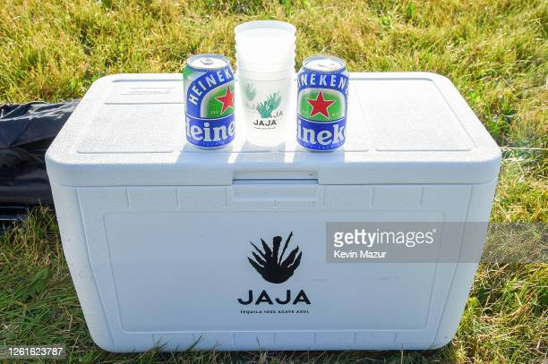A view of Heineken 00 on display during the 'Safe Sound' DriveIn Concert Fundraiser Presented by JAJA Tequila and In The Know Experiences In...
