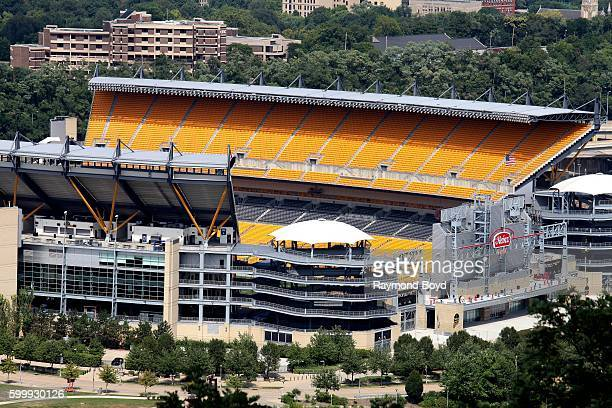 View of Heinz Field, home of the Pittsburgh Steelers and Pittsburgh Panthers football teams as photographed from Mount Washington in Pittsburgh,...