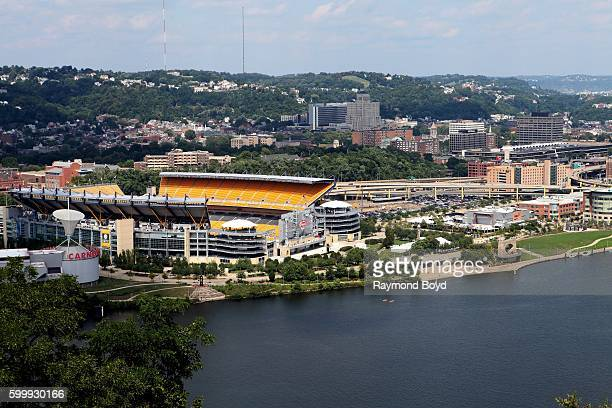 View of Heinz Field home of the Pittsburgh Steelers and Pittsburgh Panthers football teams as photographed from Mount Washington in Pittsburgh...